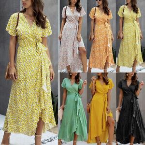 Women Boho Wrap V Neck Long Maxi Dress Ladies Summer Polka Dot Holiday Sundress