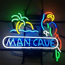 """17""""x14"""" MAN CAVE PARROT GAME ROOM REAL GLASS BEER BAR CLUB NEON LIGHT SIGN"""