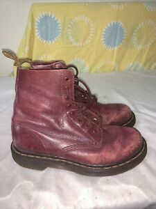 Dr Martens Air Wair Burgundy Leather Ladies Boots Size 6