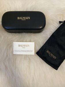 Balmain Paris Designer Glasses Case Hard Leather Felted Interior Clamshell