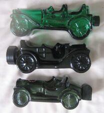 3 Vintage Avon After Shave Decanter glass Cars Empty,1 green,1 Black,1 Olive