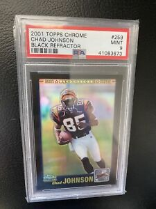 2001 Topps Chrome Chad Johnson Black Refractor /100 Psa 9