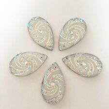 10pcs AB Swirl flower Resin drop shape Flatback Rhinestone  2 Hole Buttons/white