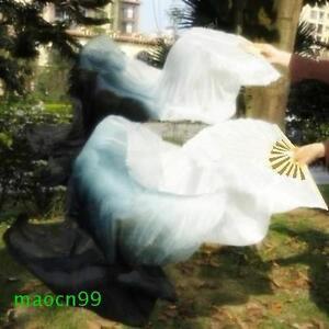 1 Pair(Left+Right) 100% Real silk veil belly dance fan White / Black (1.5m 1.8m)