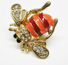 "Joan Rivers Enamel & Crystal Bee Scarf   Pin    3/4"""