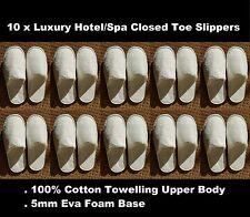 10 x unisex hotel di lusso/SPA 100% Cotone Qualità Pantofola punta chiusa in bianco