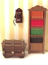wood Vintage Shackman Bookcase And Trunk Dollhouse + telephone Miniature