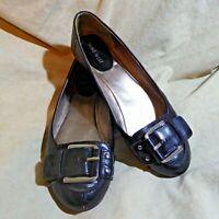 🥿 Nine West Ballet Flats sz 8 M Black Leather; Silver Buckle Straps