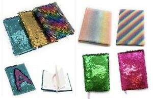 Small A6 Reversible Sequin Notebook Notepad Diary Book Childrens Girls Kids