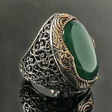 Sterling Silver Mens Ring Green Agate Aqeeq Unique Artisan Jewelry free resizing