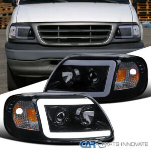 For 97-03 F150 Expedition Glossy Black LED DRL Tube Projector Headlights Lamps