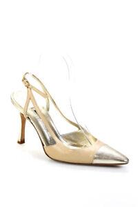 Manolo Blahnik Womens Leather Pointed Toe Slingbacks Pumps Beige Gold Size 38 8