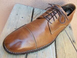 COLE HAAN Mens Dress Shoe WATERPROOF Cognac Brown Leather Casual Oxford Size 10M
