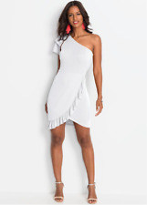 BodyFlirt Boutique One Shoulder White Party Frill Dress Size 6 / 8 NEW