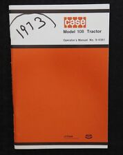 Genuine 1973 Case 108 Lawn & Garden Tractor Operators Manual Super Clean Shape