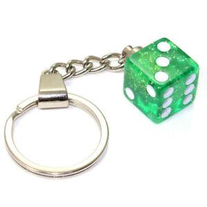 3D Clear Green Glitter Dice Key Chain Ring Fob - for home, car, truck, bike keys