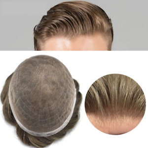 Full Lace Mens Toupee Swiss Lace Hairpieces Bleached Knots Gray  Hair System US