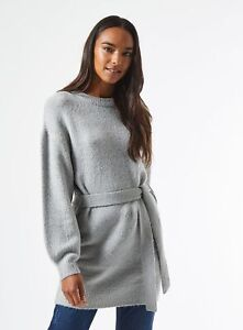 Dorothy Perkins Womens Grey Tie Waist Tunic Jumper Sweater Pullover Top