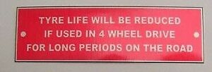Land Rover 4 x 4 Series 1 2 Rover Tyre Life Bulkhead Badge RED