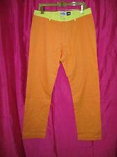 VINTAGE 1980s new wave CHINO PANTS orange/acid yellow size 34 fun & funky PREPPY