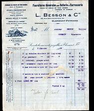 """CLERMONT-FERRAND (63) FOURNITURE pour SELLERIE & CARROSSERIE """"L. BESSON"""" en 1924"""