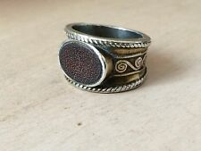 Sterling Silver .925 Odd Unusual Ring with Leather Insert sz 7.5