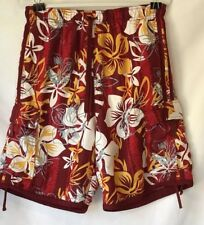 Oxide Men's Board Swim Shorts Hawaiian Floral Maroon/Red Swim Size XL