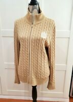 Ralph Lauren Womens Tan Cable Knit Full Zip Sweater LRL Crest Size XL