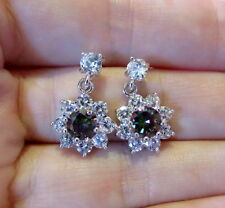 Rainbow Mystic Topaz Earrings-Silver with Clear Cubic Zirconias