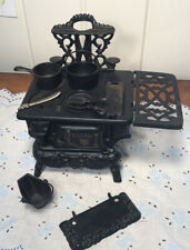 Antique Miniature Winter Crescent Toy Cast Iron Stove