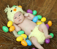 Newborn Baby Chick Costume Knit Crochet Romper Suit Photo Photography Outfit