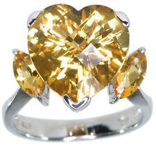 Citrine Gemstone Heart Checkerboard Sterling Silver Ring size N