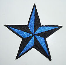 BRIGHT BLUE 3 inch iron on NAUTICAL STAR patch applique rockabilly punk - 111