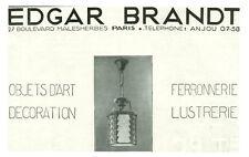 Publicité ancienne Edgar Brandt objets d'art décoration 1930 issue de magazine