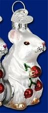 White Mouse Holding Berries Old World Christmas Mice Rodent Glass Ornament 12196