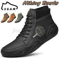 Mens Hand Stitching Leather Casual Shoes Soft Sock Ankle Boots Fashion Loafers