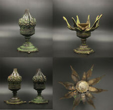 Chinese Antiques superb aulic extensile emblazonry brass lotus candlestick