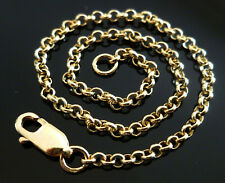 18ct 18k Solid Gold Rolo Belcher Chain Necklace Yellow Rose 2.2mm CUSTOM