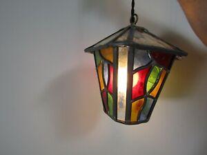 English Stain Glass Hall Light Lantern