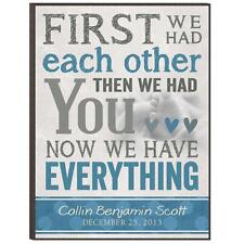 "Personalized Laser Engraved ""Then We Had You"" Wood Print, Baby Boy"