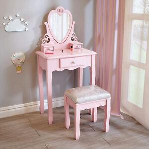 Kids Girls Vanity Set Wooden Flower Dressing Table and Cushion Stool Set Pink