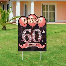 Excelloon 60th Birthday Yard Sign Decorations for Women, Rose Gold 60 Year.