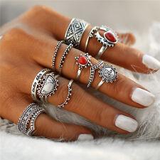 UK BOHO 14PC RING SET Bohemian Gypsy Ethnic Tribal Festival Jewellery Gift Idea