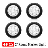 "4x 2"" Inch Round Truck Trailer White Side Marker Clearance Light LED Sealed 24V"
