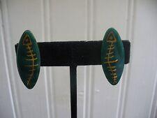 Vintage Screw-On Teal Green Enameled Copper Art Gold Fish Bone Oval Earrings