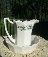 VTG McCoy Pottery White Water Pitcher and Bowl Set Daisies / Blue Wildflowers
