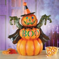 "Spooky Lighted ""BOO"" Pumpkin In Witches Costume Halloween Tabletop Centerpiece"