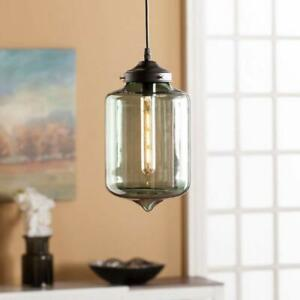 Colored Glass Pendant Lamp in Smoky Green