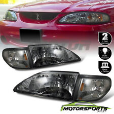 1994 1995 1996 1997 1998 Ford Mustang Smoke Headlights + Corner Signal Lamps Set