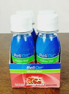 ReliOn Pomegranate Glucose Shot 2 Oz Bottles Drink Diabetes BB 07/22 - Lot Of 4